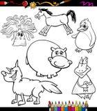 Animals set cartoon coloring book Stock Image