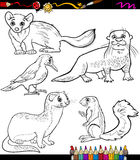 Animals set cartoon coloring book Royalty Free Stock Photo
