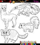 Animals set cartoon coloring book Royalty Free Stock Photo