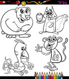 Animals set cartoon coloring book Stock Photography