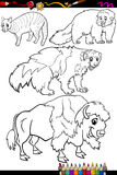 Animals set cartoon coloring book Royalty Free Stock Images