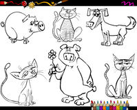 Animals set cartoon coloring page Royalty Free Stock Images