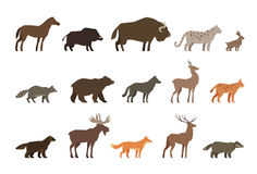 Animals set of colored icons isolated on white background. Vector illustration Royalty Free Stock Image