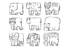 Animals set . cute rounded rectangle wild animal symbol Stock Image