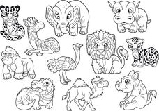 Animals, set of cute vector images, coloring book. African animals, set of cute vector images, coloring book vector illustration
