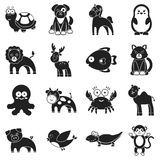 Animals set icons in black style. Big collection animals vector symbol stock illustration Stock Photography