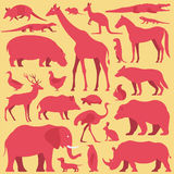 Animals set. Illustration of collection of animal silhouettes on  background Royalty Free Stock Images