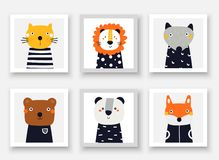 Animals Set Including Wolf, Bear, Fox, Panda, Cat, Lion. Cute Hand Drawn Doodle Cards, Postcard, Posters With Animals Stock Image