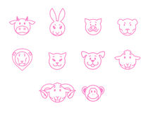 Animals  set pink outline simple style. This wonderful collection of  icons on the theme of animals Royalty Free Stock Photos