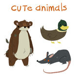 Animals set. With teddy bear ,duck and rat flat icon mascot. Royalty Free Stock Images