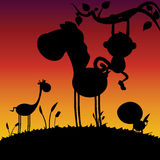 Animals silhouette Stock Photography