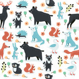Animals silhouette seamless pattern. Royalty Free Stock Images