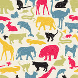Animals silhouette seamless pattern. Stock Image