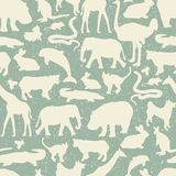 Animals silhouette seamless pattern. Royalty Free Stock Image