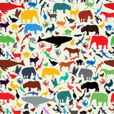 Animals silhouette seamless pattern Stock Photography