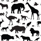 Animals silhouette seamless pattern. Wildlife animal silhouettes Royalty Free Stock Images