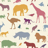 Animals silhouette seamless pattern. Wildlife tiled textured bac Royalty Free Stock Image