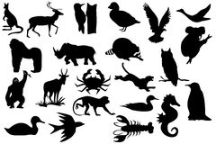 Animals silhouettes Stock Images