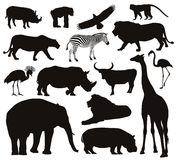 Animals silhouettes Royalty Free Stock Photo