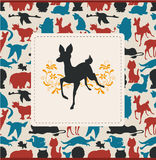 Animals silhouettes card Stock Images