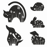 Animals silhouettes with flowers Stock Photo