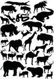 Animals silhouettes large coll. Illustration with animals silhouettes collection isolated on white background Royalty Free Stock Images