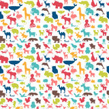 Animals silhouettes seamless pattern. Cute background Royalty Free Stock Photos