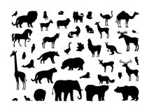 Animals Silhouettes Set Stock Photography