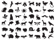 Animals silhouettes set. Silhouettes of wild and domestic animals, birds and insects on a white background stock illustration