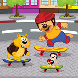 Animals on skateboards Royalty Free Stock Photography