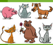 Animals sketch cartoon set illustration Stock Images