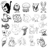 Animals sketch collection. Isolated on white objects set. Eps 10 vector illustration Royalty Free Stock Photos