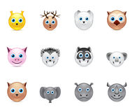 Animals smile icons set Royalty Free Stock Images