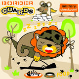 Animals soldier. In the border, vector cartoon. EPS 10 Royalty Free Stock Images