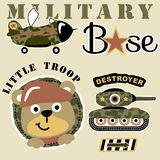 Animals soldier. With military vehicle, vector cartoon illustration. vector on EPS 10 Royalty Free Stock Image