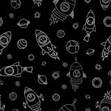 Animals in space seamless vector background. Rocket ships. Animal astronauts mouse, cat, giraffe, dog, and lion in rocket ships stock illustration
