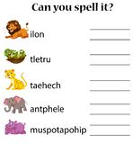 Animals spell word worksheet. Illustration royalty free illustration