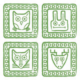 Animals stamps set Stock Images
