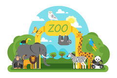 Free Animals Standing At The Zoo Entrance. Stock Image - 97408051