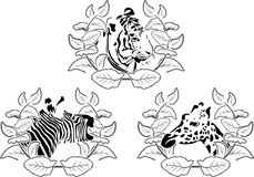 Animals stencil set Royalty Free Stock Photo