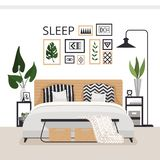 Stylish modern bedroom in the Scandinavian style. Minimalistic cozy interior with drawers, bed, paintings, rug and plants. Vector illustration royalty free illustration