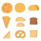 A set of baked goods paella, burrito, bagel, pizza, tortilla, toast, rye bread. Vector illustration. A set of baked goods paella, burrito, bagel, pizza vector illustration