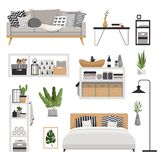 Set for a stylish modern furniture in the Scandinavian style. Minimalistic and cozy interior with drawers, bed, shelves and lamp. Set for a stylish modern stock illustration