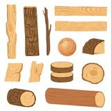 Set of icons of textured wooden boards, bars, and parts of a tree. Vector illustration royalty free illustration