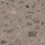 Animals tapestry seamless pattern in grey Royalty Free Stock Image