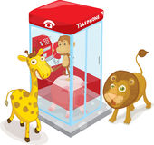 Animals and telephone box Royalty Free Stock Image