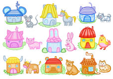 Animals and their houses stock illustration