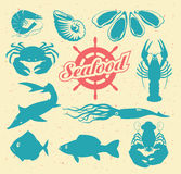 Animals on the theme of seafood Stock Images