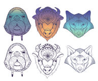 Animals totems: vector wolf, buffalo and walrus Stock Images