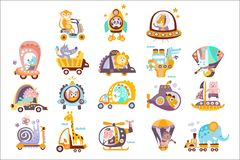 Animals And Transportation Fantasy Drawings Set. Of Childish Style Funny Flat Drawings On White Background vector illustration